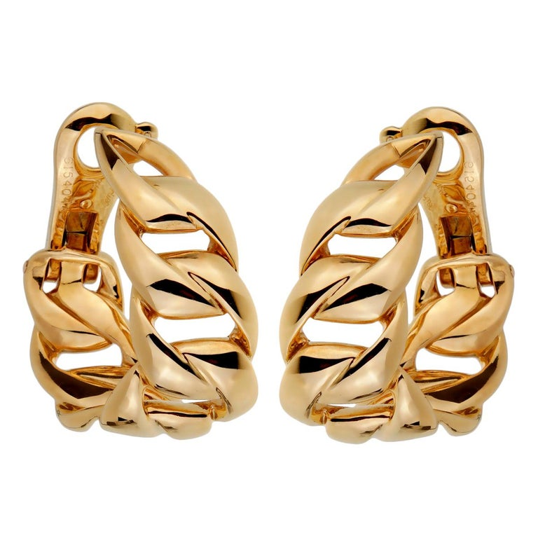 Cartier Chain Link Yellow Gold Hoop Earrings For Sale