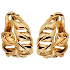 Cartier Chain Link Yellow Gold Hoop Earrings