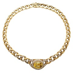 Cartier Chaine Necklace Set with a Yellow Saphir and Diamonds