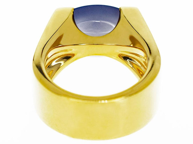 Oval Cut Cartier Chalcedony 18 Karat Yellow Gold Tankissime Ring