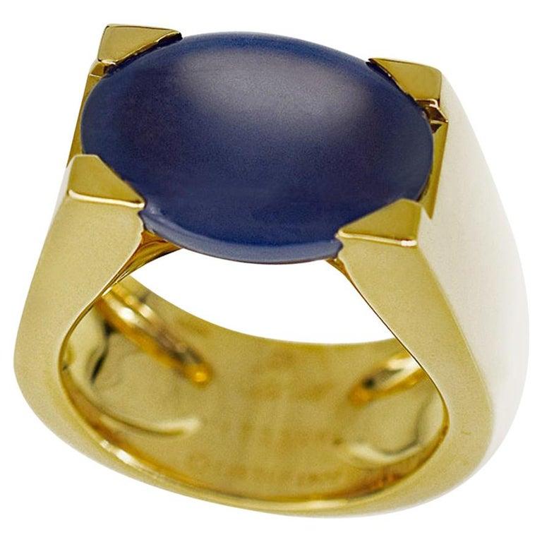 Cartier Chalcedony 18 Karat Yellow Gold Tankissime Ring