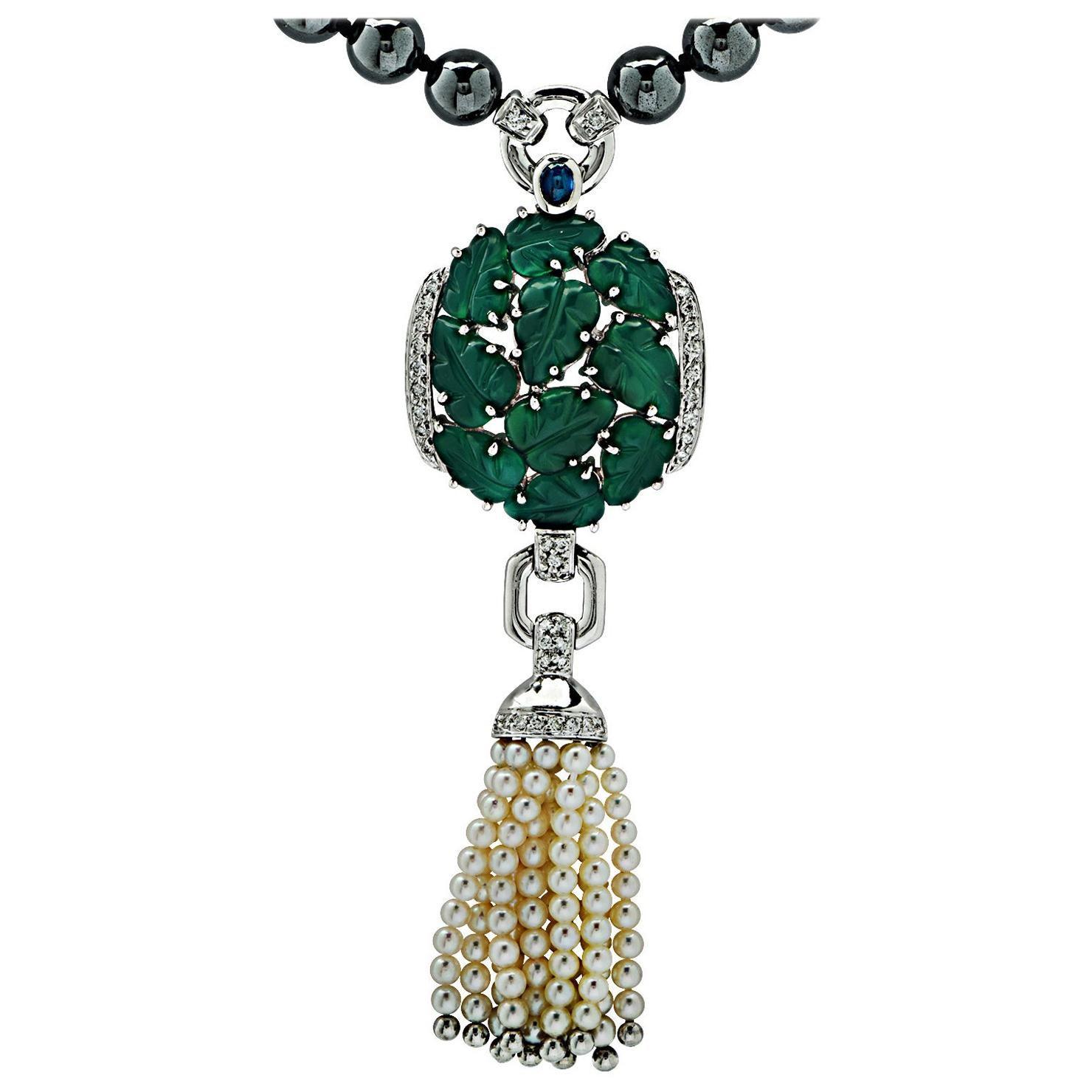 Cartier Chalcedony, Diamond, Pearl & Hematite Sautoir