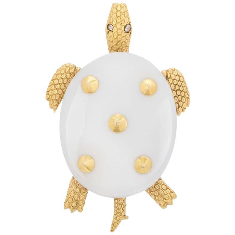 Cartier Chalcedony Turtle Diamond Brooch