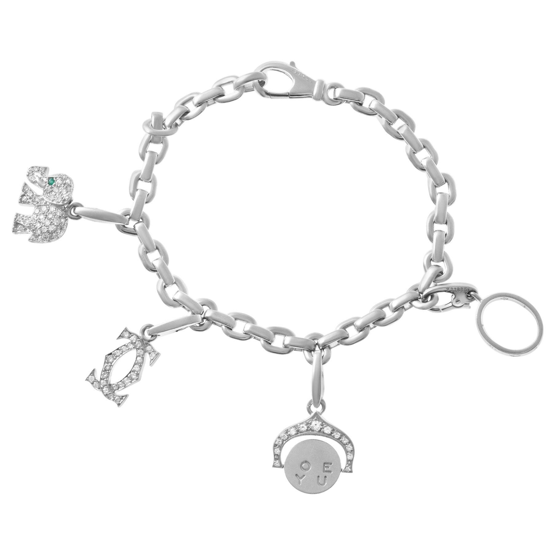 Cartier Charm Bracelet in 18 Karat White Gold with Diamond Charms