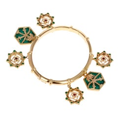 Cartier Charm Bracelet with Emeralds, Ruby, and Malachite, 18k Yellow Gold