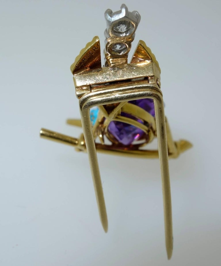 Contemporary Cartier 1960s Amethyst Diamond Turquoise Gold Sparrow Pin For Sale