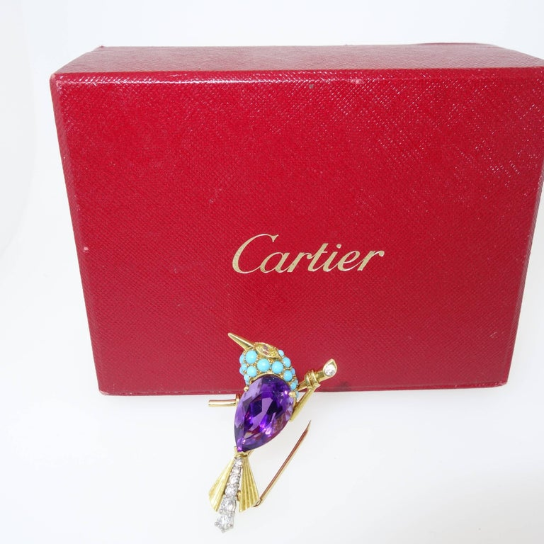Cartier 1960s Amethyst Diamond Turquoise Gold Sparrow Pin In Excellent Condition For Sale In Aspen, CO
