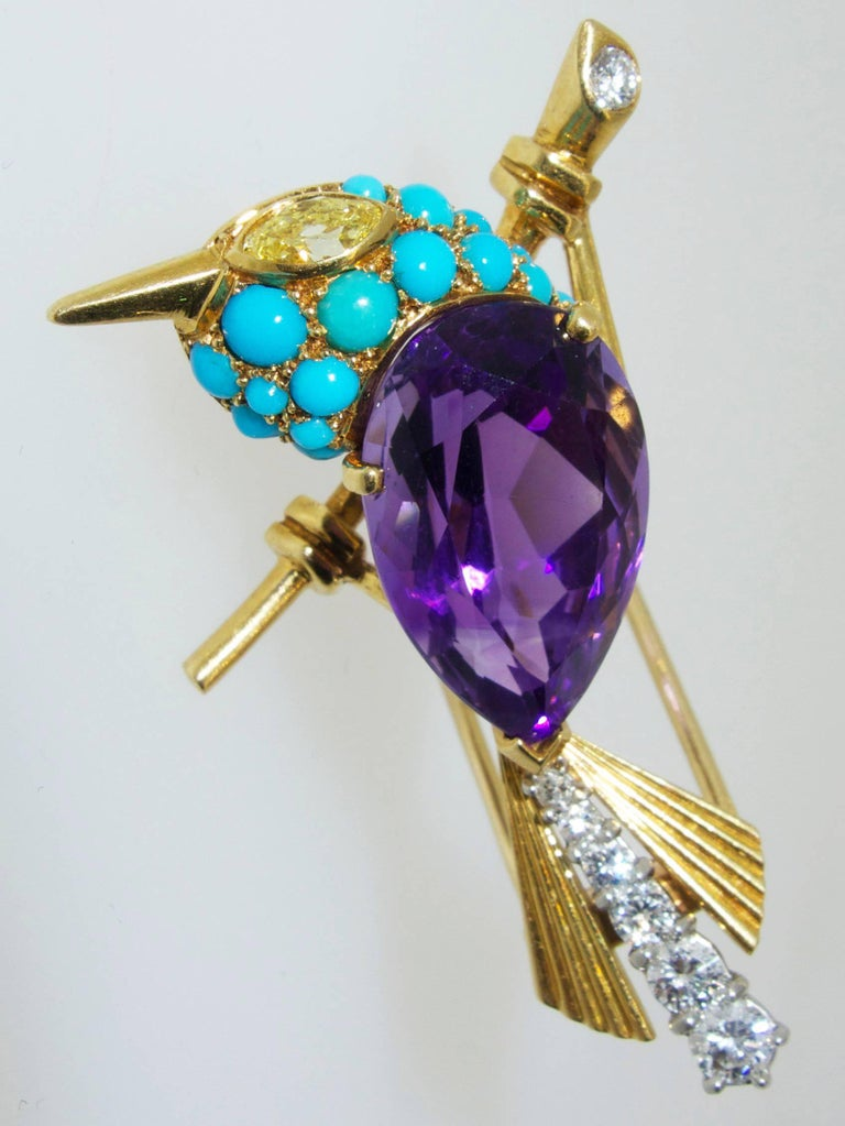 Cartier 1960s Amethyst Diamond Turquoise Gold Sparrow Pin For Sale 1