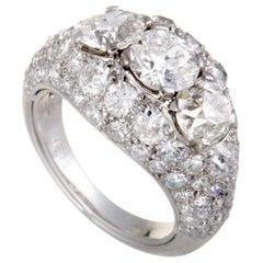 Cartier Chevaliere Platinum European Cut Diamond Pave and 3 Center Diamonds Ring