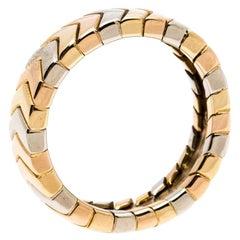 Cartier Chevron Three Tone 18K Gold Band Ring Size 51