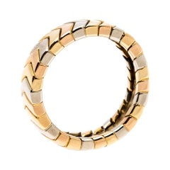 Cartier Chevron Three Tone 18K Gold Band Ring Size 51