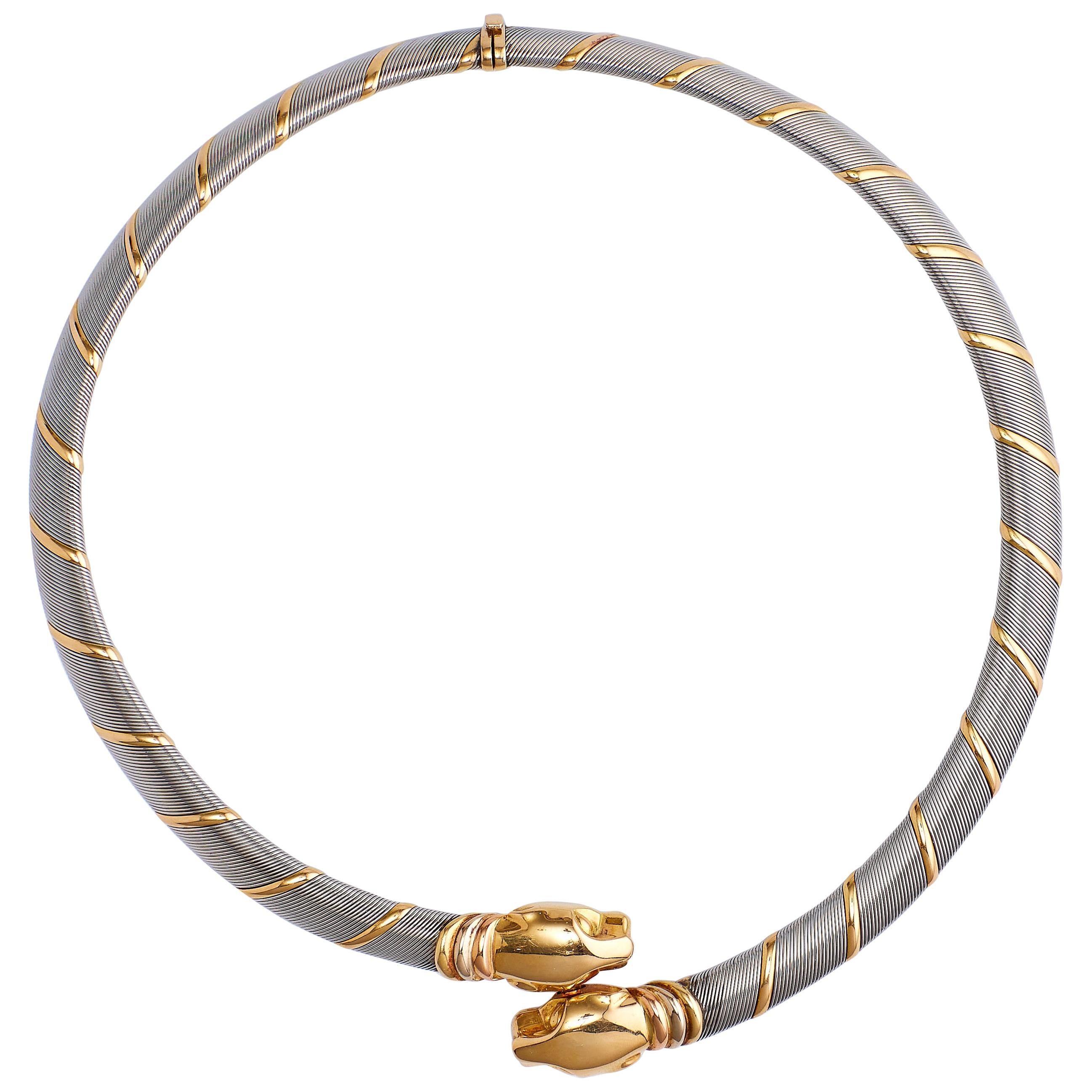 Cartier Choker 'Collar' 18 Karat Gold Double Headed Panther Necklace