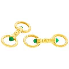 Cartier Chrysoprase Set Gold Cufflinks