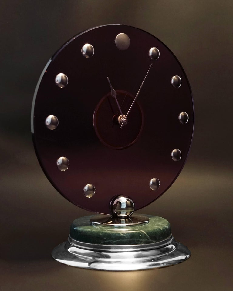 Fine and Rare Cartier Art Deco Silver, Pink Glass and Marble Clock, Paris, France, circa 1935 Movement case by JAEGER LE COULTRE, NO. 470340, SWISS, 15 RUBIS, Signed Cartier It is a 8-day Reserve, 15 jewel back-wind back-set lever movement, 60 mm in