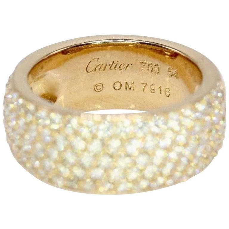 Cartier Classic Five Row Diamond Pave Wedding Band Ring 18 Karat