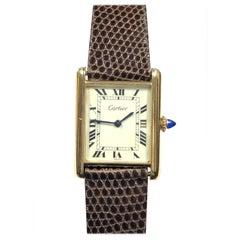 Cartier Classic Gold Plate Mechanical Unisex Tank Wristwatch