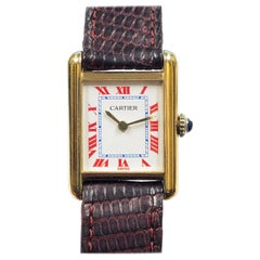 Cartier Classic Tank Vermeil Ladies Mechanical Wristwatch