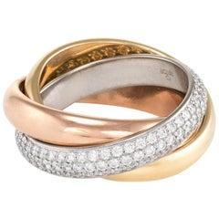 Cartier Classic Trinity Ring Diamond 18 Karat Tri Gold Estate Jewelry