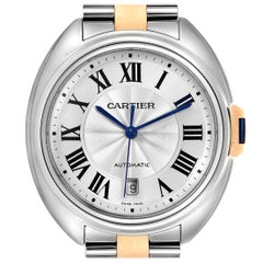 Cartier Cle 40 Steel Rose Gold Silver Dial Men's Watch W2CL0002
