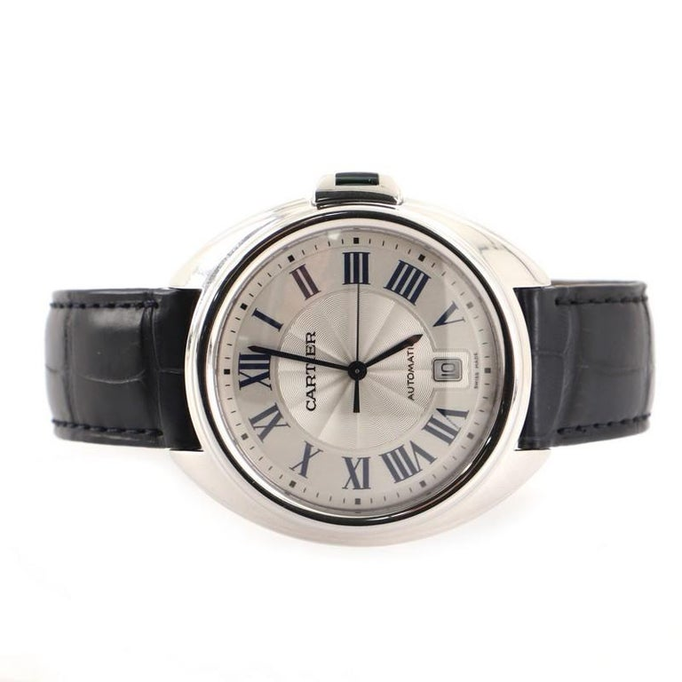 Cartier Cle de Cartier Automatic Watch White Gold and Alligator 40 In Good Condition For Sale In New York, NY