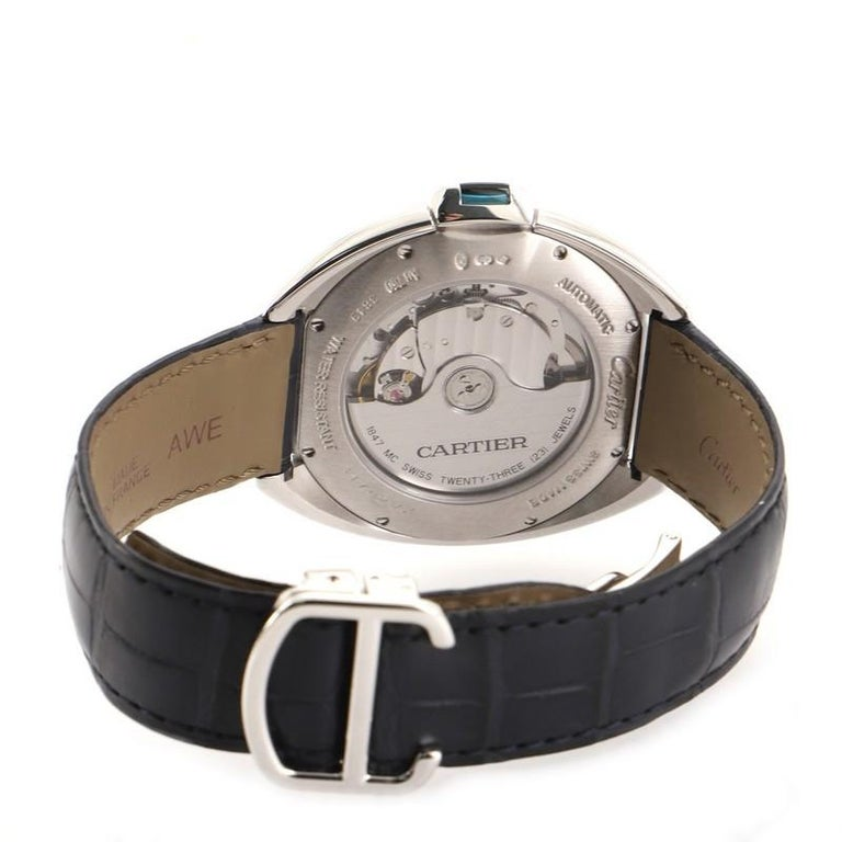Women's or Men's Cartier Cle de Cartier Automatic Watch White Gold and Alligator 40 For Sale