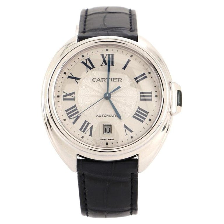 Cartier Cle de Cartier Automatic Watch White Gold and Alligator 40 For Sale