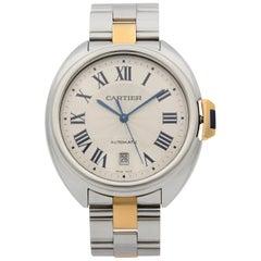 Cartier Cle De Cartier Steel Date 18k Rose Gold Silver Dial Men's Watch W2CL0002