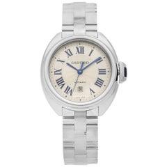 Cartier Cle De Cartier Steel Silver Roman Dial Automatic Ladies Watch WSCL0005