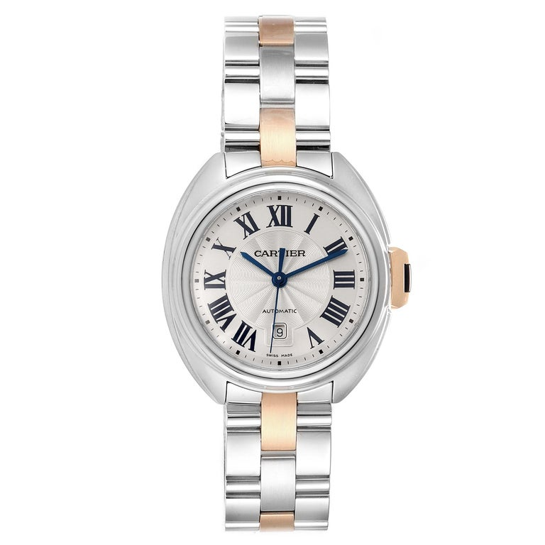 Cartier Cle Steel Rose Gold Automatic Ladies Watch W2CL0004 Unworn. Automatic self-winding movement. Round stainless steel and rose gold case 31 mm in diameter. Flush-mounted crown set with the blue spinel cabochon. Stainless steel smooth bezel.