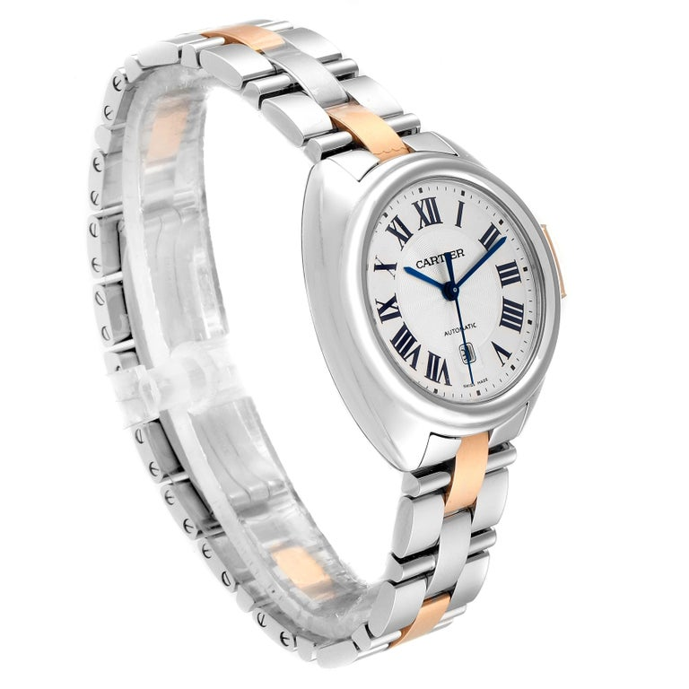 Cartier Cle Steel Rose Gold Automatic Ladies Watch W2CL0004 Unworn In Excellent Condition For Sale In Atlanta, GA