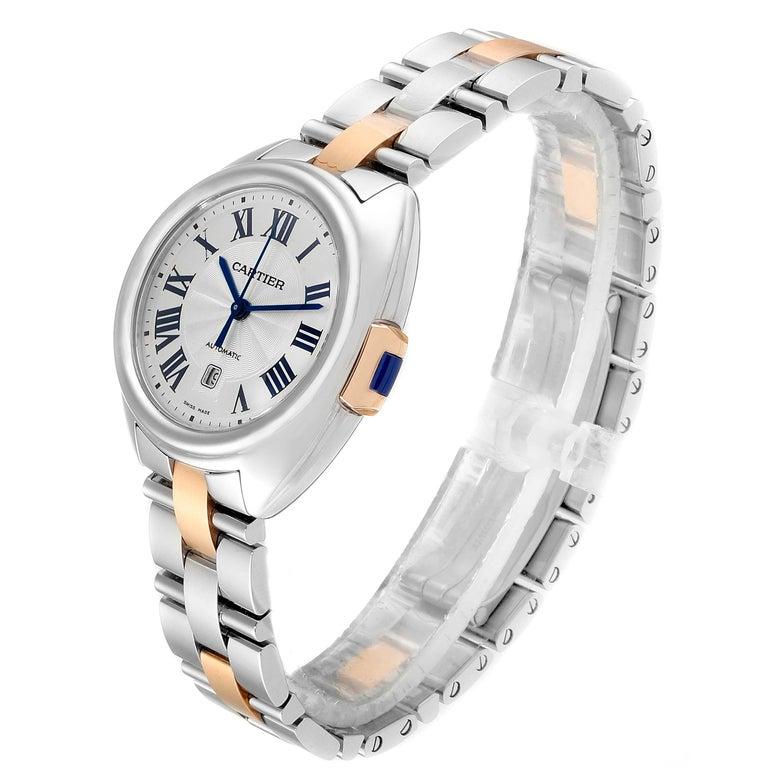 Women's Cartier Cle Steel Rose Gold Automatic Ladies Watch W2CL0004 Unworn For Sale