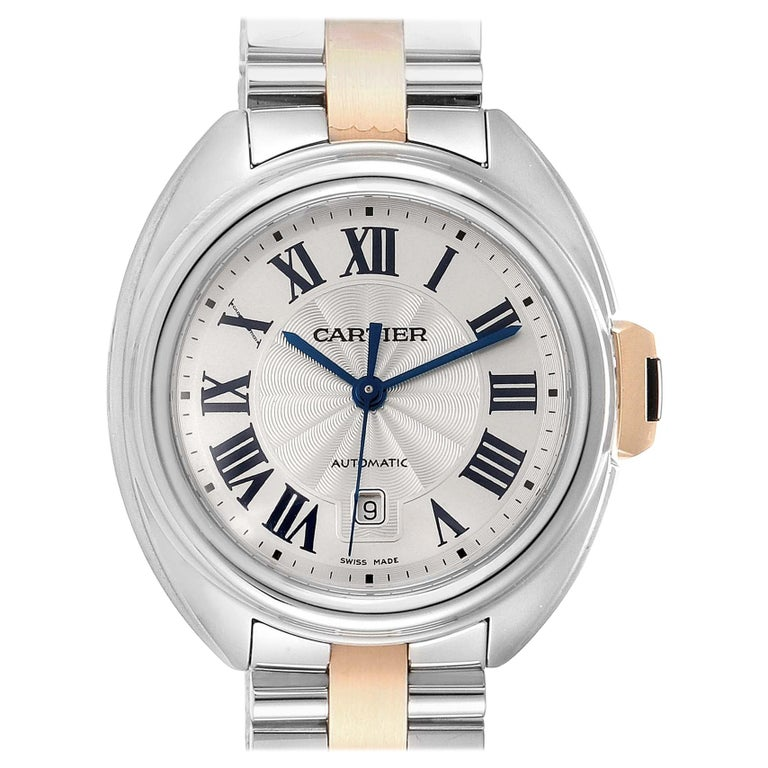 Cartier Cle Steel Rose Gold Automatic Ladies Watch W2CL0004 Unworn For Sale