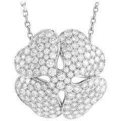 Cartier Clover 18 Karat White Gold 7.00 Carat Diamond Pendant Necklace
