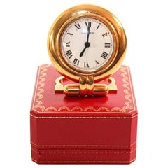 Cartier Colisee Art Deco Travel Desk Clock 24-Karat Gold-Plated