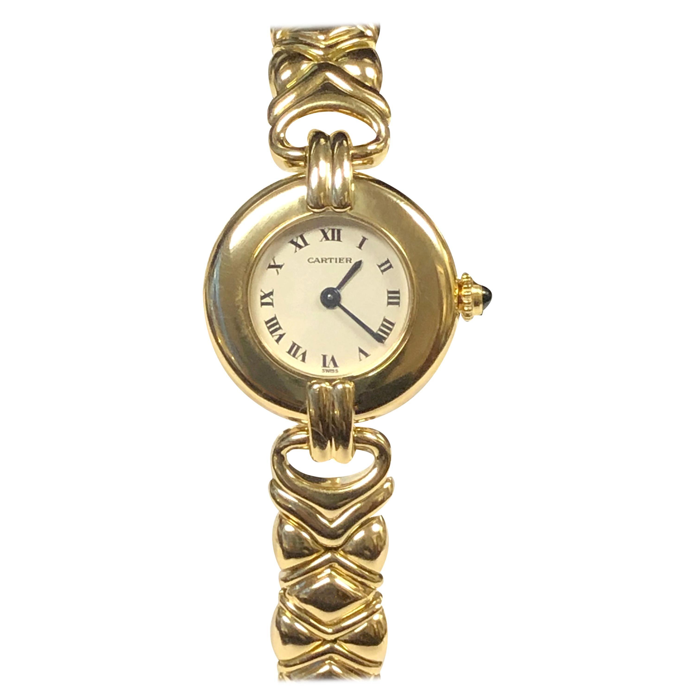 Cartier Colisee Ladies Yellow Gold Bracelet Quartz Wristwatch