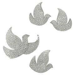 "Cartier ""Colombes de la Paix/Dove of Peace"" Diamond Earrings and Brooches Suite"