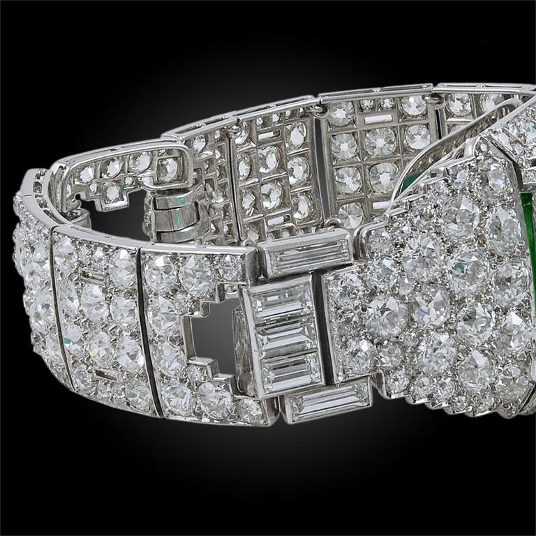 Women's or Men's Cartier Colombian Emerald and Diamond Bracelet For Sale