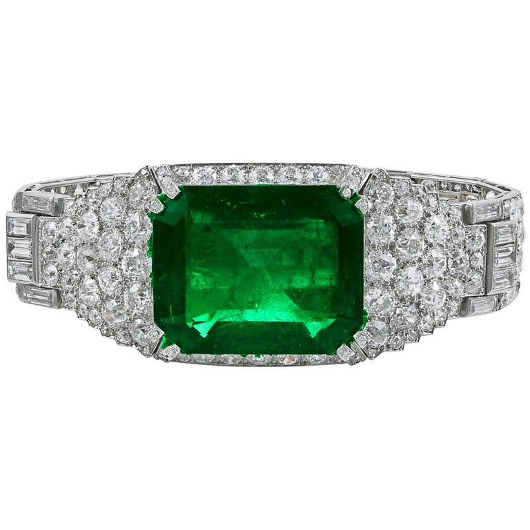 Cartier Colombian Emerald and Diamond Bracelet For Sale