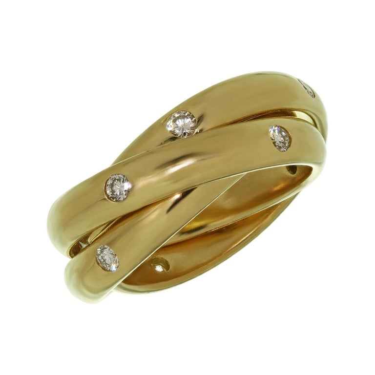 Cartier Constellation Diamond Yellow Gold Trinity Band Ring For Sale