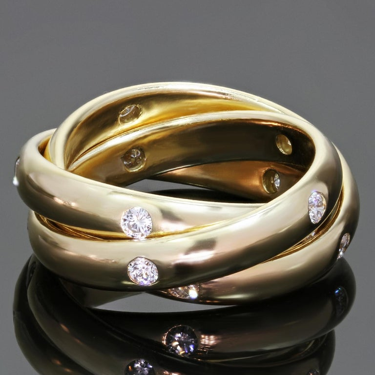 Women's Cartier Constellation Diamond Yellow Gold Trinity Band Ring For Sale
