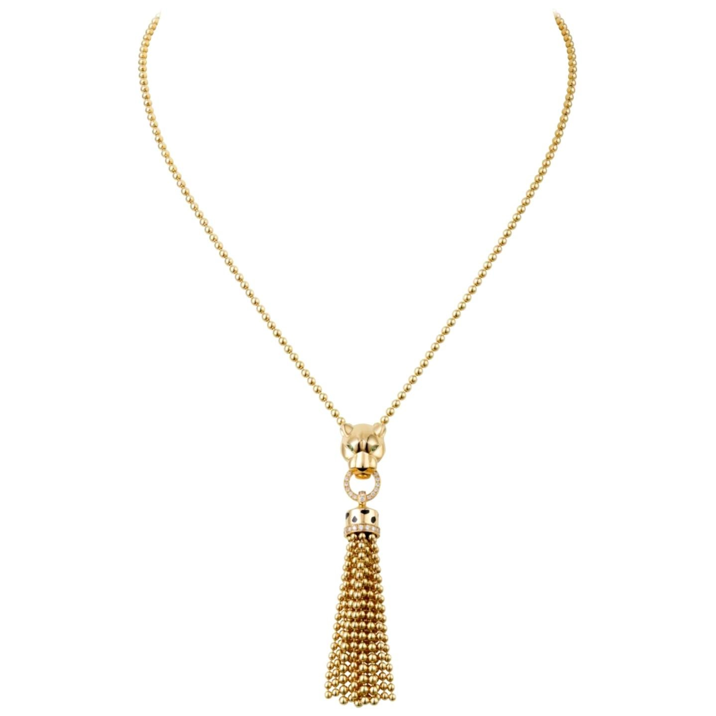 Cartier Contemporary Panthere Panther Diamond Pendant Necklace Yellow Gold 2000s