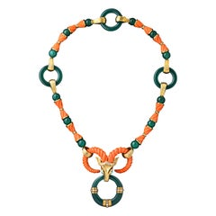 Cartier Coral and Chrysoprase Ox Necklace
