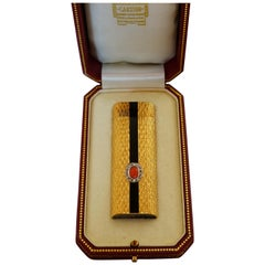 Cartier Coral, Black Onyx and Diamond Gold Lighter