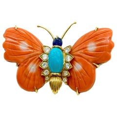 Cartier Coral, Turquoise, Diamond, Sapphire Butterfly Brooch