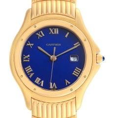 Cartier Cougar 18 Karat Yellow Gold Blue Dial Unisex Watch 11651
