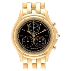 Cartier Cougar Chronograph Yellow Gold Black Dial Unisex Watch 1162
