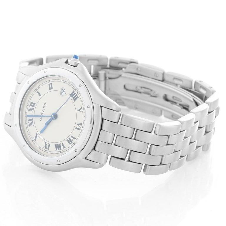 Women's or Men's Cartier Cougar Men's/Ladies Midsize Stainless Steel Quartz Watch For Sale