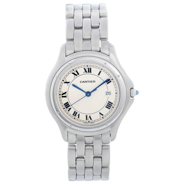 Cartier Cougar Men's/Ladies Midsize Stainless Steel Quartz Watch For Sale