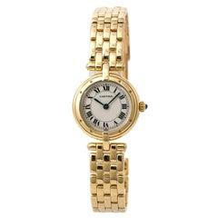 Cartier Cougar Panthere 866920 Womens Quartz Watch Cream Dial 18 Karat YG