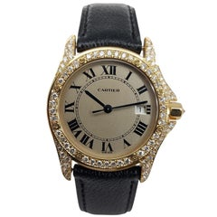 Cartier Cougar Wristwatch, 18 Karat Yellow Gold, Diamond Bezel, Quartz